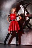 Frauen-Mode-Schönheits-Porträt, vorbildliches Girl Hairstyle, blondes Haar Lizenzfreie Stockbilder