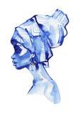 Frauen-Modeporträt des Aquarells afrikanisches Hand gezeichnetes Schönheitsmädchen auf weißem Hintergrund stockbild