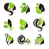 Frauen-Naturschönheits-Haar-Badekurort-Salon Logo Design Set Lizenzfreie Stockfotos