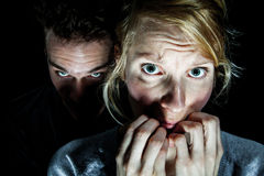 Frauen-Opfer ängstlich von ihrem Freund Lizenzfreies Stockfoto