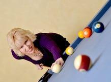 Frauen-Pool-Spieler Stockfotografie