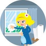 Frauen-Reinigungs-Fenster Stockbilder