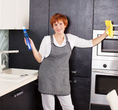 Frauen-Reinigungs-Haus Lizenzfreies Stockbild
