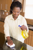 Frauen-Reinigungs-Küche-Zählwerk Stockfotos