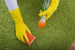 Frauen-Reinigungsteppich lizenzfreie stockfotos