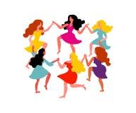 Frauen ringsum Tanz Frauen mit den langen Haar- und Kleidergriffhänden Vektorillustration am 8. März lizenzfreie abbildung
