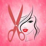 Frauen-Rosa zeigt Frisurn-Frau und Haarschnitt an Stockbild
