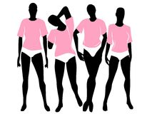 Frauen-rosafarbene Shirt-Stilblüten vektor abbildung