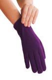 Frauen `s Hände, die auf Handschuhen tragen Lizenzfreie Stockfotos