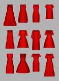 Frauen ` s Kleidermodellsatz Cocktailabendkleidersammlung im Retrostil Realistische Illustration des Vektors 3D steigung Stockfotos