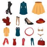 Frauen ` s Kleidungs-Karikaturikonen in der Satzsammlung für Design Kleidungs-Vielzahl und Zubehör vector Netz des Symbols auf La Stockbilder