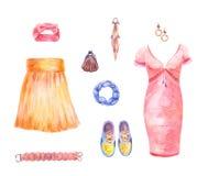 Frauen ` s Kleidungssatz Aquarellsammlung des Rockes, Kleid, ACC Stockbilder
