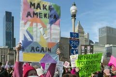 2018 Frauen ` s März in Chicago Stockbild