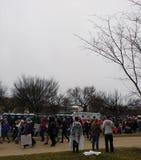Frauen ` s März, Protest drängt sich auf Madison Drive Nanowatt, Zeichen und Poster, Washington, DC, USA Stockfotografie