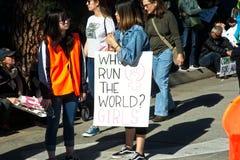 2018 Frauen ` s März in Santa Ana, Kalifornien Stockbilder
