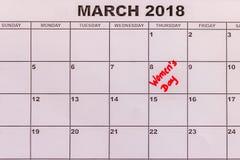 Frauen ` s Tag, am 8. März Kalenderdatenillustration Lizenzfreie Stockfotos