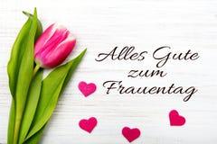 Frauen ` s Tageskarte mit Deutschem fasst ` Alles-gute zum frauentag ` ab Lizenzfreie Stockbilder