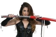 Frauen-Samurai-Schwertfechter Lizenzfreies Stockbild