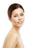 Frauen-Schönheits-Gesicht, schönes vorbildliches Natural Makeup Girl-Porträt Stockfotografie