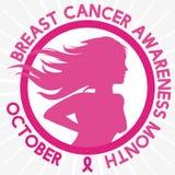 Frauen-Schattenbild-übende Brust-Gewissensprüfung für Brustkrebs-Bewusstseins-Monat, Vektor-Illustration lizenzfreie abbildung