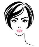 Frauen schließen Frisurenikone, Logofrauengesicht auf weißem Hintergrund kurz Lizenzfreie Stockfotografie