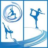 Frauen-Schlittschuhläufer, Vektoreislauf Stockbild