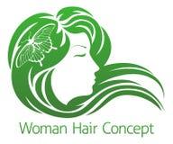 Frauen-Schmetterlings-Haar-Konzept Lizenzfreies Stockfoto