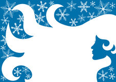 Frauen-Schneeflocken-Winter-Feldgrenze lizenzfreie abbildung