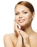 Frauen-Schönheits-Gesicht, saubere neue Hautpflege, schönes Mädchen-Porträt Stockbild