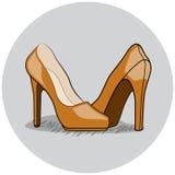 Frauen-Schuh-Illustration, flacher mit Tinte geschwärzter Vektor Lizenzfreie Stockfotografie