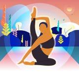Frauen sind Übung und Yoga morgens Hintergrund nave atmosphäre Baum lizenzfreie abbildung
