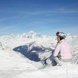 Frauen-Skifahrer stockfoto