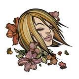 Frauen stellen mit abstrakten Blumen gegenüber Lizenzfreies Stockfoto