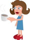 Frauen-trinkender Kaffee lizenzfreie abbildung