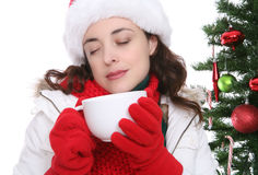 Frauen-trinkender Kaffee Stockfoto