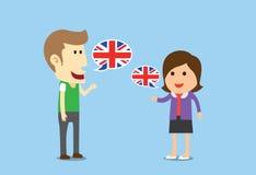 Frauen und Mann sprechendes Englisch Lizenzfreie Stockfotos