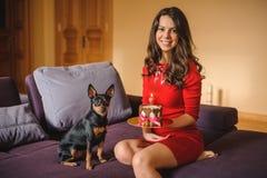 Frauen- und Spielzeugterrier mit Hund backen auf Sofa zusammen Stockbilder