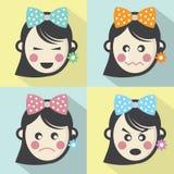 Frauen-verschiedene Gesichtsausdruck-flache Design-Ikonen Stockfoto