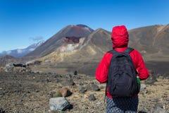 Frauen-Wanderer mit Rucksack Ansicht genießend Stockfotografie