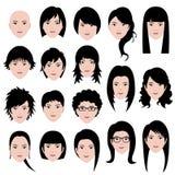 Frauen-weibliche Gesichts-Haar-Frisur Lizenzfreie Stockfotos
