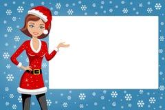 Frauen-Weihnachten Santa Presenting Whitespace Lizenzfreie Stockfotografie