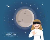 Frauen, welche die Gläser der virtuellen Realität schauen Quecksilber in den univers tragen stock abbildung