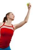 Frauen whith Tenniskugel Lizenzfreies Stockbild