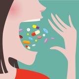 Frauen-Wurf viele Pillen herein zu ihrem Mund Lizenzfreie Stockfotografie