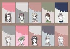 Frauen-Zeichentrickfilm-Figuren mit Unterhaltungsgeplappervektor-Kunstschablone Lizenzfreie Stockbilder