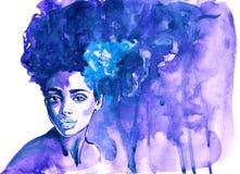 Frauen-Zusammenfassungsporträt des Aquarells afrikanisches lizenzfreie stockfotos