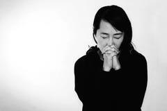 Frauenabbildung Beten Stockbilder