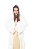 Frauenabbildung Beten Getrennt auf weißem Hintergrund Lizenzfreie Stockfotos