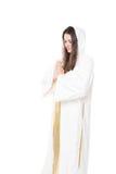 Frauenabbildung Beten Getrennt auf weißem Hintergrund Stockbild