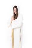 Frauenabbildung Beten Getrennt auf weißem Hintergrund Lizenzfreies Stockbild